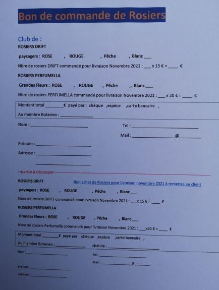 Faites vos choix, renvoyez votre commande sur rotary.iledere@gmail.com ou téléphonez  au 0603952544 ou  au 0613016586